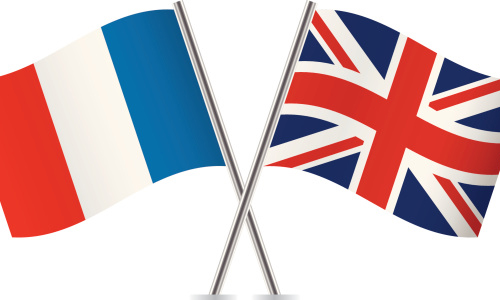 The French and British flags crossed